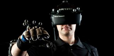 Virtual reality goggles and glove